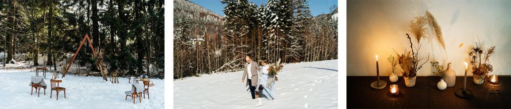 intimní svatba na sněhu na Ostravici v Beskydech